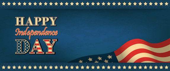 Horizontal web banner on the Independence Day of the USA in vintage style. Greeting retro background with font composition and place for your text. Stock vector illustration
