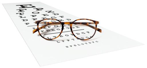 spotted eyeglasses on eyesight test chart isolated on white. eye examination ophthalmology concept