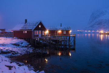 Lofoten islad in the winter