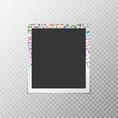 Simple photo frame with multicolored falling confetti in the form of flowers on a transparent background
