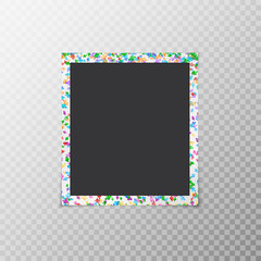 Photo frame with flying confetti of different colors isolated on a translucent background
