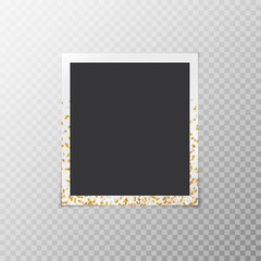 A simple photo frame with golden confetti in the form of stars on a translucent background