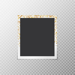Photo frame with falling golden stars of confetti on a transparent background
