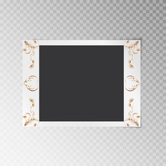 A simple photo frame close-up with a gold floral pattern on a transparent background