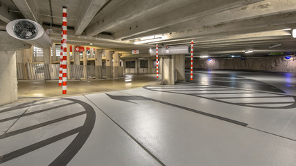 Empty parking garage hospital