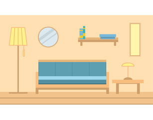 Interior state muddy with parquet floors with furniture a sofa and a floor lamp in flat style a vector