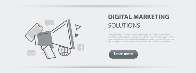 Flat line illustration business concept web banner of digital marketing solutions company site services, social network and media communication for websites and marketing materials on paper background