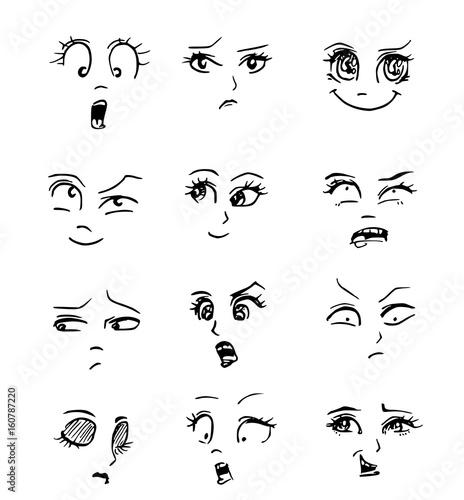 Line Drawings Of Facial Expressions : Quot cartoon emoties gezichten stockfoto s en rechtenvrije