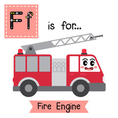 Letter F cute children colorful transportations alphabet tracing flashcard of Fire Engine for kids learning English vocabulary.