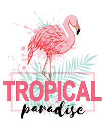 Pink flamingo and green palm leaves