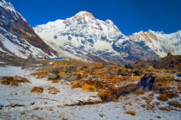 Mountain Landscape in Himalaya. Annapurna South peak and mountain stream. Nepal, Annapurna Base Camp Track.