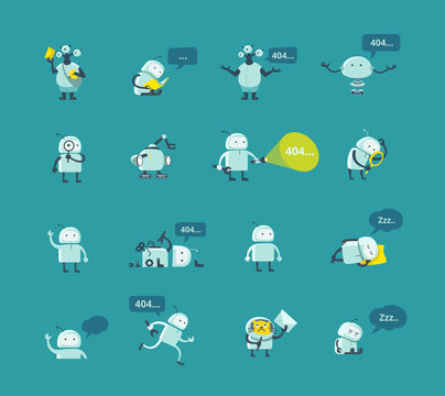 Character robot set Different situations. 404 error page not found funny repairs. Vector Icons.