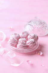 Raspberry Zephyr (Russian Zefir - Marshmallow) on light pink background.