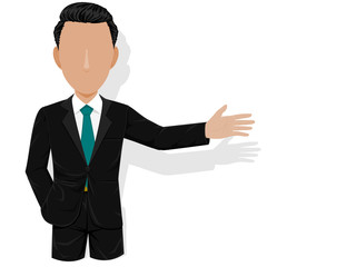 Businessman  is presenting something on transparent background