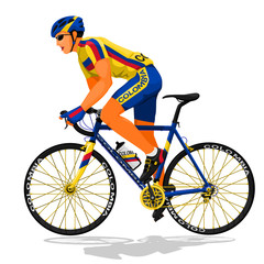 Colombia road cyclist on transparent background