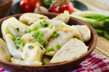 Dumplings with potatoes and cabbage meat