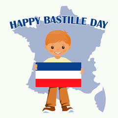 Smiling child boy holding a France flag isolated on a white background. Vector cartoon mascot. Holiday illustrations for the Bastille day.