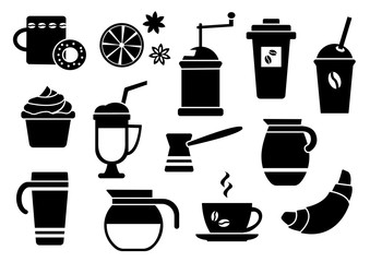 Black and white set on coffee theme, flat design, vector illustration