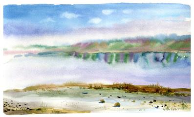 Lake, landscape, watercolor