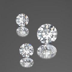 3D illustration three diamonds with reflection on a gray background.