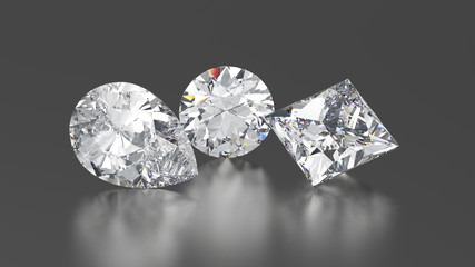3D illustration three diamonds round, princes, pear with reflection