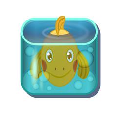 Cute cartoon gold fish in square aquarium. Vector illustration isolated on white background