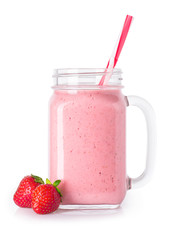 Foto auf Acrylglas Milch / Milchshake strawberry smoothie isolated on white