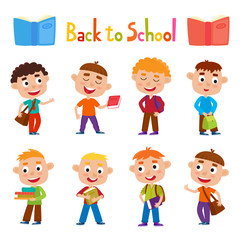 Color vector set pretty boys stand with books, bag and backpack.