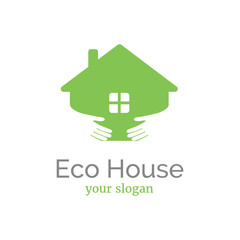 Vector logo template for eco home. Two arms hugging the house. Eco product sign. EPS10. Countryside village emblem.