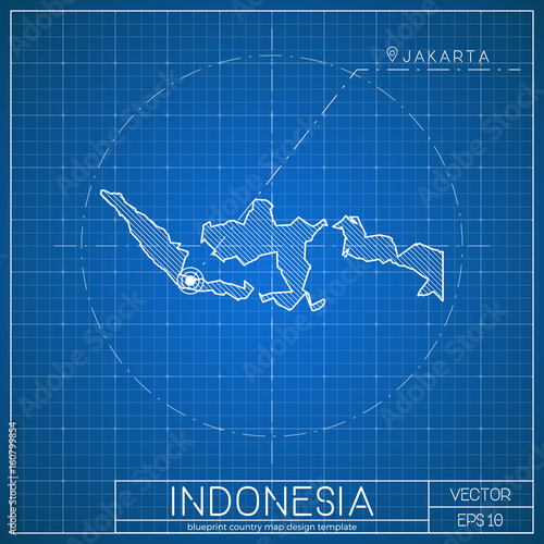 Indonesia blueprint map template with capital city jakarta marked indonesia blueprint map template with capital city jakarta marked on blueprint indonesian map vector malvernweather Images