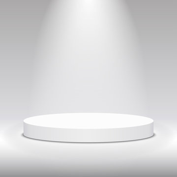 Round white stage podium illuminated with light. Stage vector backdrop. Festive podium scene for award ceremony on white, grey background. Vector white pedestal for product presentation.