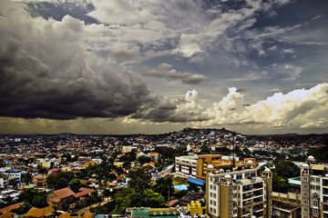 Birds eye view of Kampala skyline Wall mural