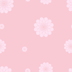 Pink floral background. Seamless vector pattern with flower motif