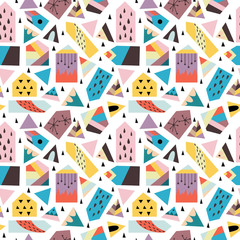 Seamless pattern with scandinavian style figures, cute houses and triangles