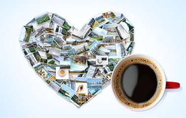 Heart of photos from different places around world and cup with coffee on light background. Concept of travel memories