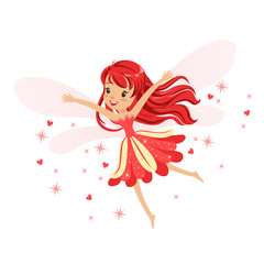 Beautiful smiling red Fairy girl flying colorful cartoon character vector Illustration