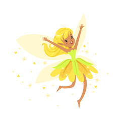 Beautiful smiling yellow Fairy girl flying colorful cartoon character vector Illustration