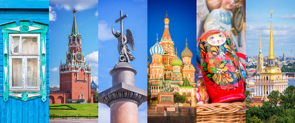 Russia, panoramic photo collage, Russia Saint Petersburg, Moscow landmarks travel and tourism concept