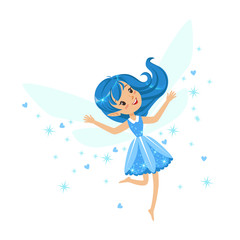 Beautiful smiling blue Fairy girl flying colorful cartoon character vector Illustration