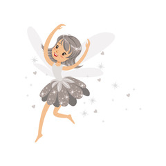 Beautiful smiling gray Fairy girl flying colorful cartoon character vector Illustration