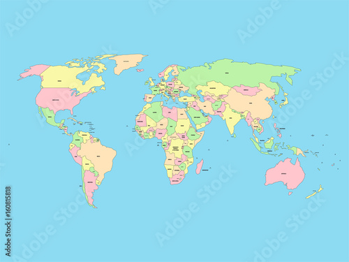 World Map With Names Of Sovereign Countries And Larger Dependent - World map with names