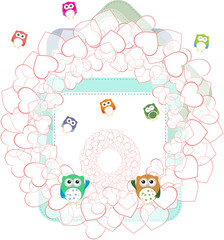 birthday party elements with cute owls and love hearts . Invitation card with cute cartoon animal