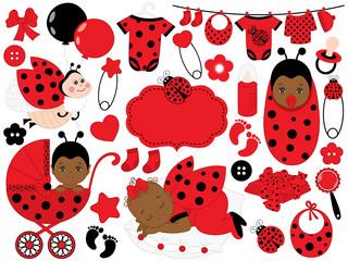 Vector Baby Girl Set with Ladybug Pattern. Vector African American Baby Girl. Vector Ladybug.