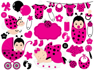 Vector Baby Girl Set with Ladybug Pattern. Vector Baby Girl. Vector Ladybug.