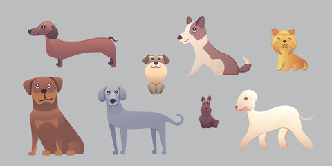 PrintDifferent type of cartoon dogs. happy dog set vector illustration.