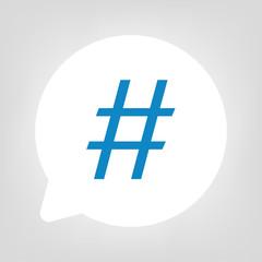 Kreis Sprechblase - Hashtag blau