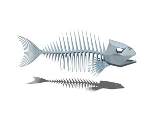 Fish skeleton. Isolated on white background. 3D rendering illustration.