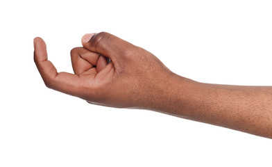 Black male hand beckoning isolated on white