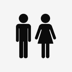 Stickman. Male female. Vector.