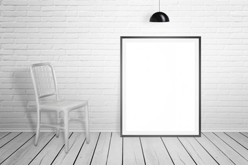 Empty picture frame for mockup and chair in white room. Brick wall and white wooden floor.